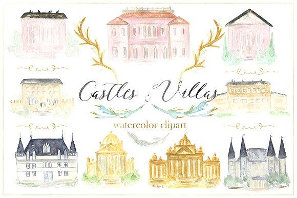 Castles & villas watercolor clipart ~ Illustrations on Creative Market.