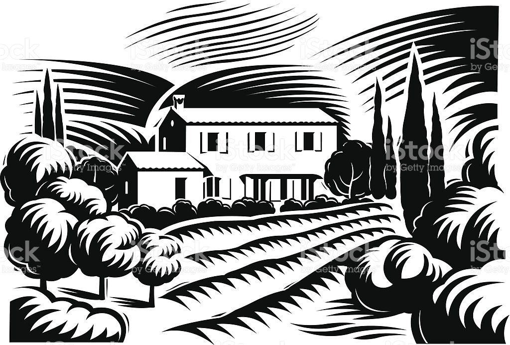 Villa De Provence stock vector art 455600541.