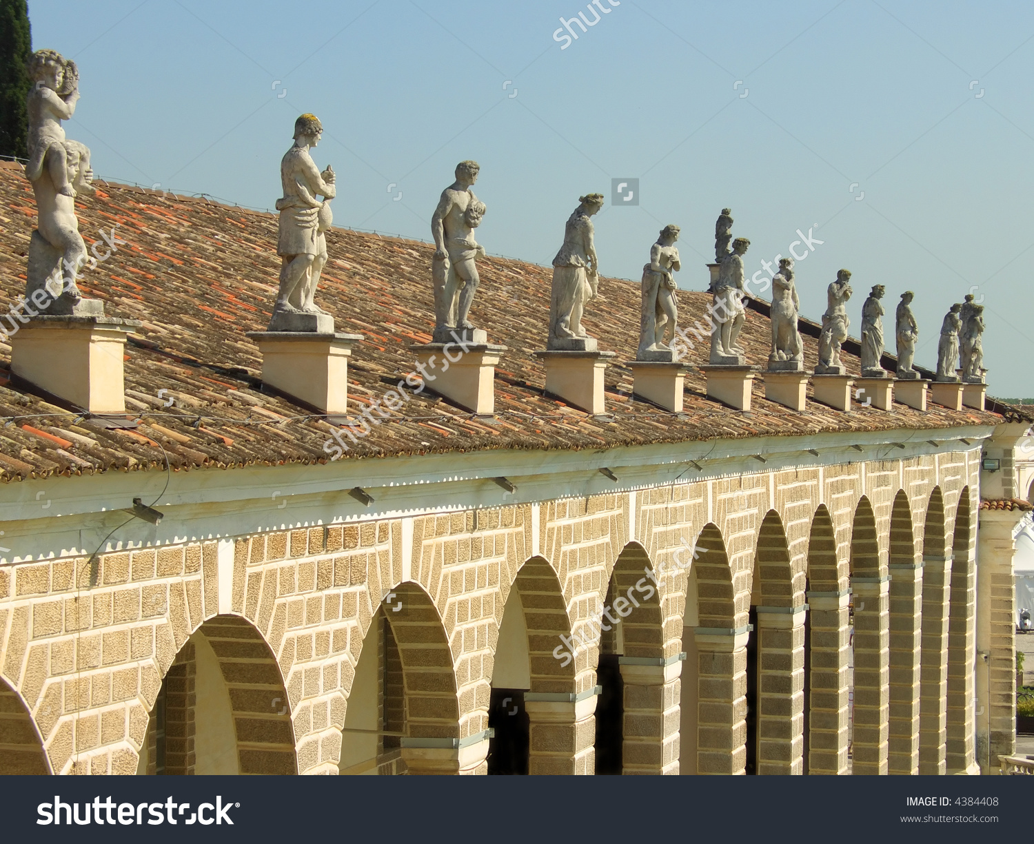 Rows Of Classic Style Statues Above Villa Manin Porch, Udine.