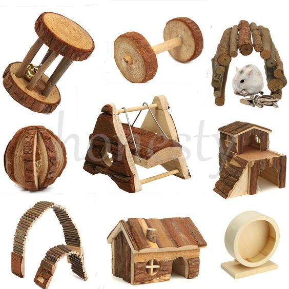 Details about Wooden House Villa Cage Exercise Toy Hamster.