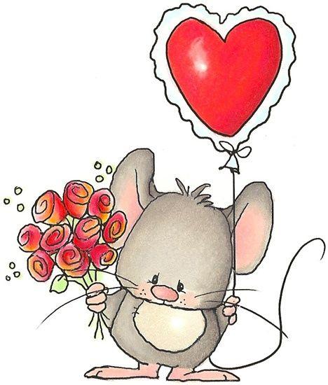 Raton con globo de corazon y rosas.
