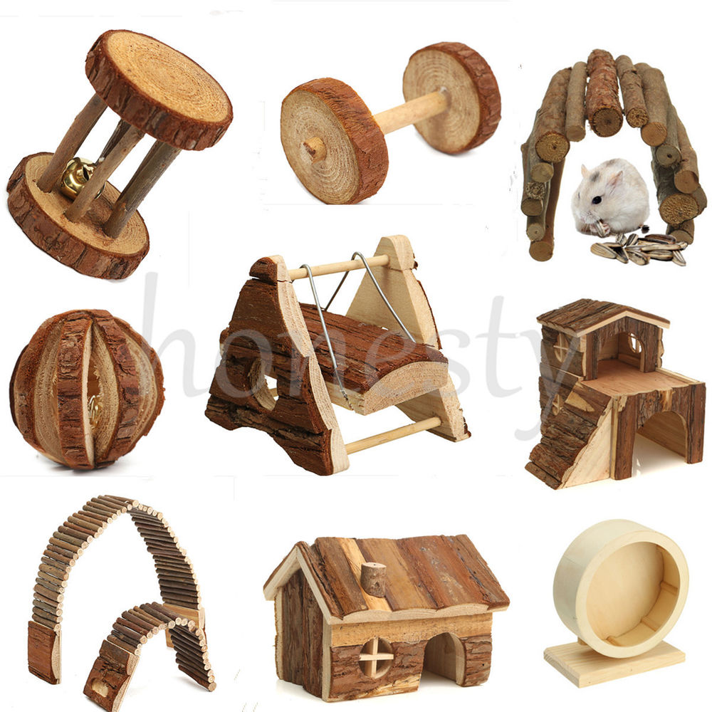 Wooden House Villa Cage Exercise Toy Hamster Hedgehog Mouse Rat.