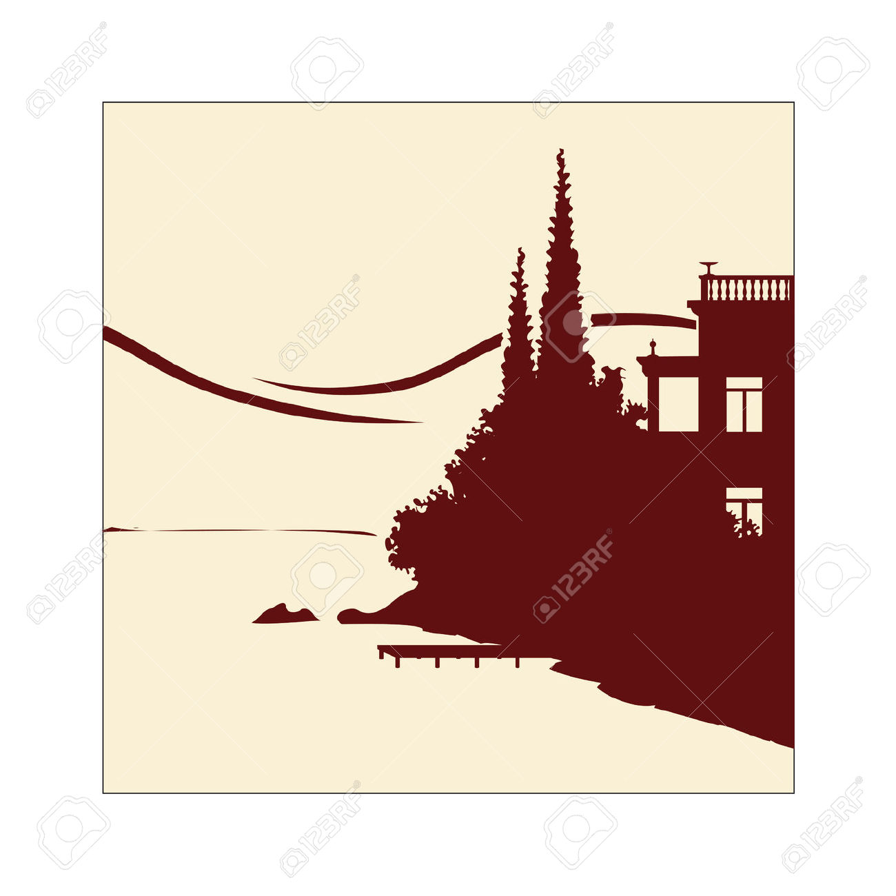 Handmade Illustration Of An Old Villa At The Lakeside Royalty Free.