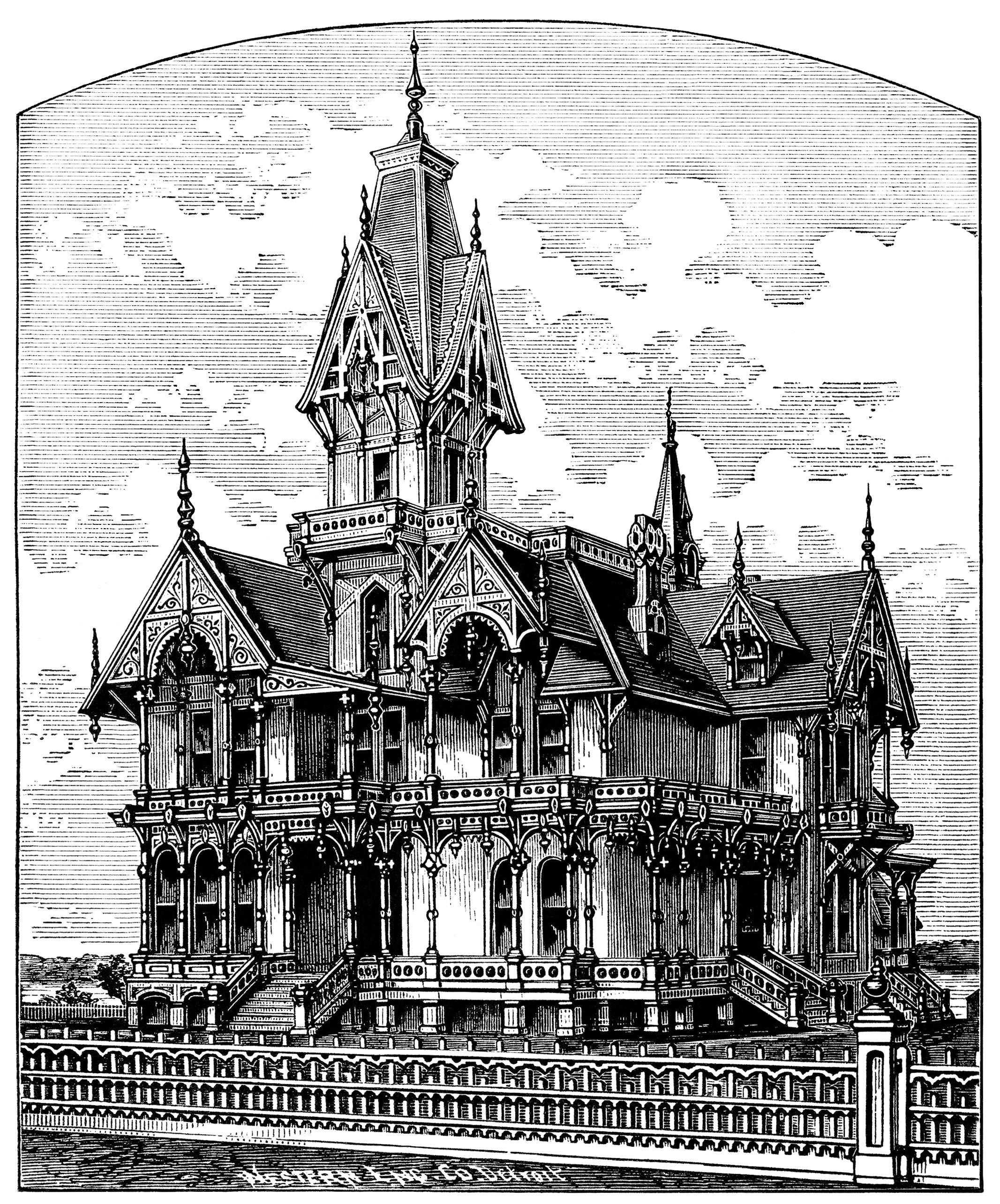 Elegant Victorian Villa ~ Free Spooky House Clip Art.