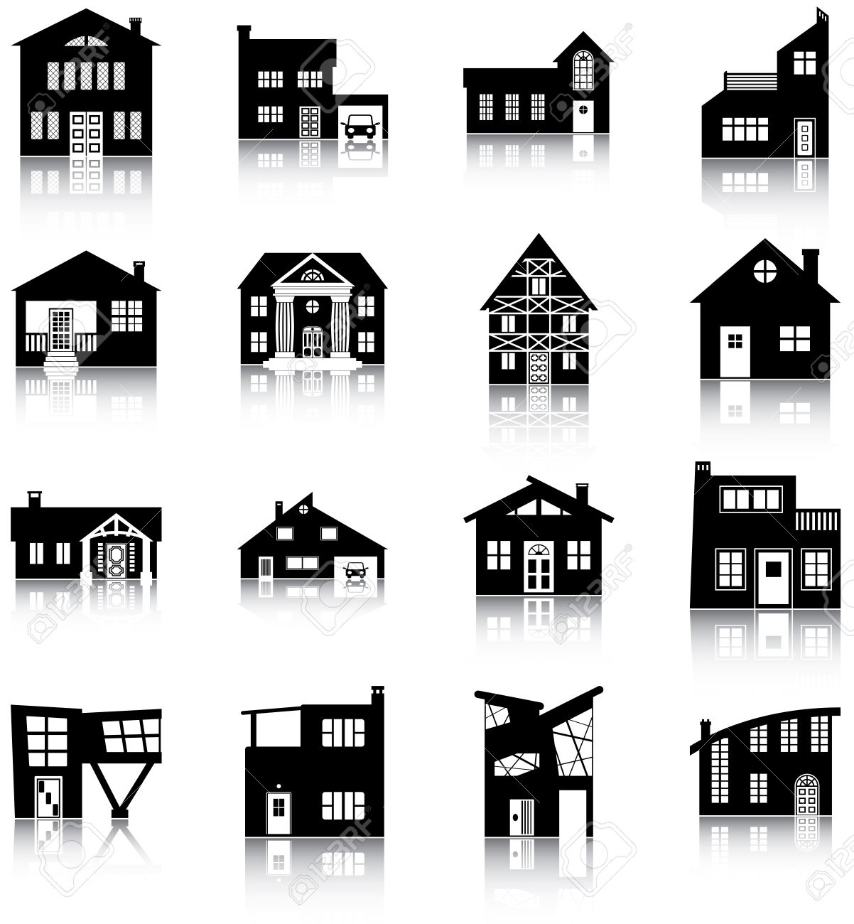 16 Silhouettes Of Different Types Of Houses Royalty Free Cliparts.