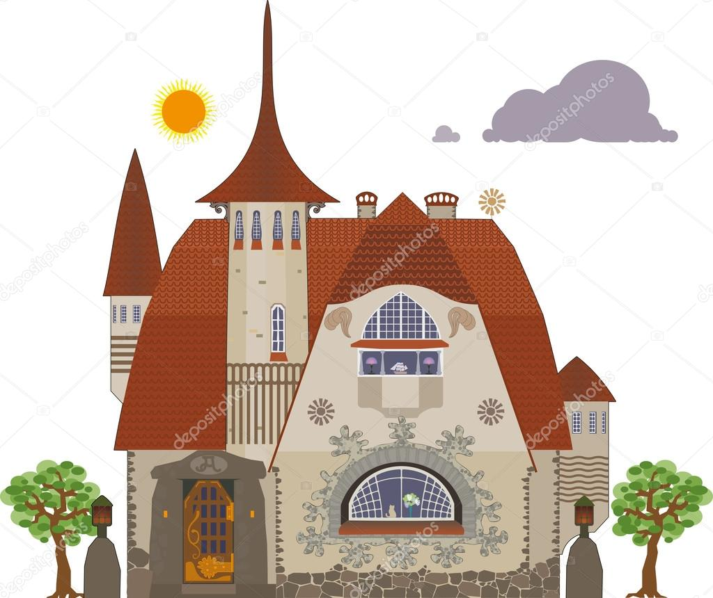 Old villa — Stock Vector © nikolz #40846855.