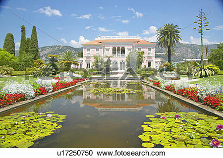 Stock Photography of The Gardens and Villa Ephrussi de Rothschild.
