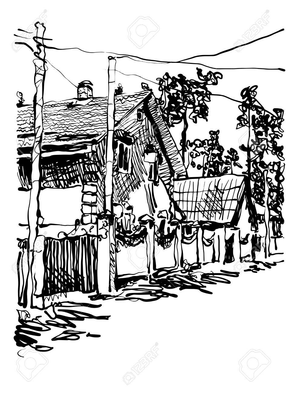 Black and white digital graphic of village composition with.