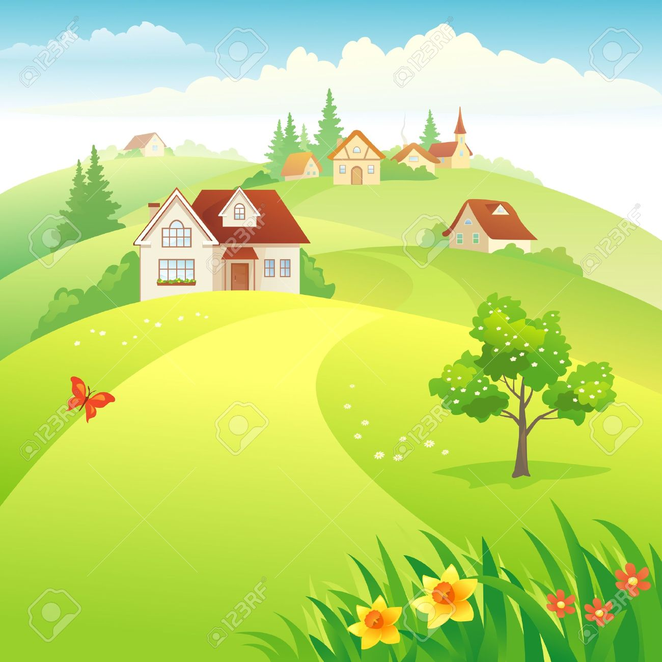 Village clipart rural place.