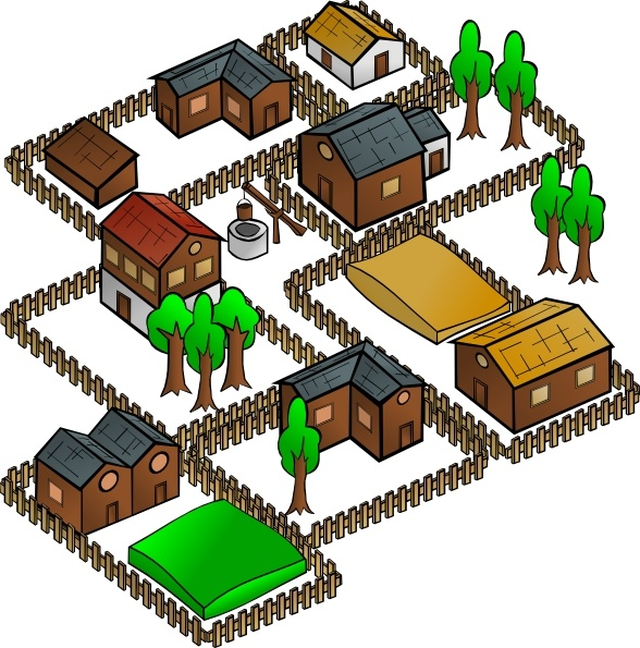 Village clip art Free vector in Open office drawing svg.