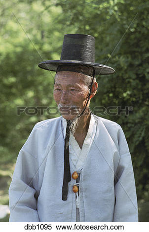 Stock Image of Village elder in traditional attire, Korea dbb1095.