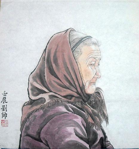 Elderly in Village Original Chinese Figure Painting Art :.