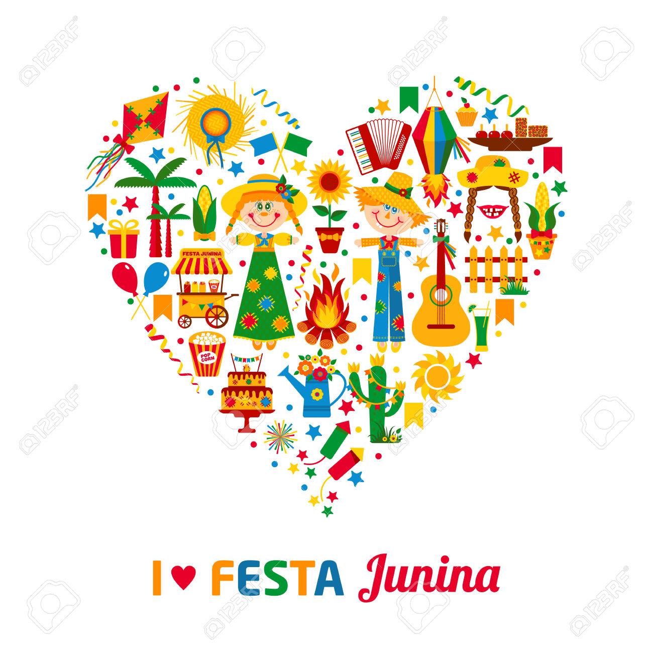 Festa Junina Village Festival In Latin America. Icons Set In.