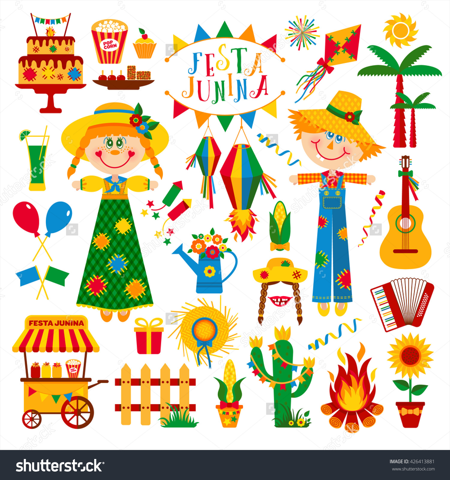 Festa Junina Village Festival Latin America Stock Vector 426413881.