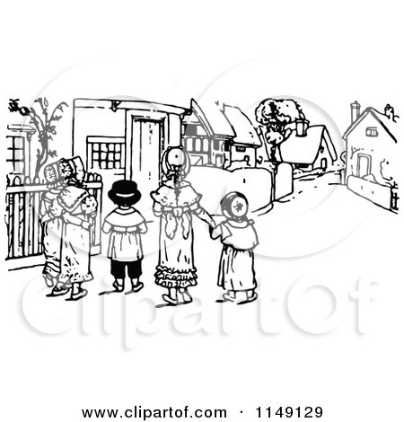 Clipart of a Retro Vintage Black and White Village.