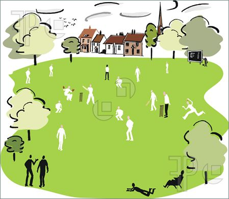 Illustration of Illustration of cricket match being played on.