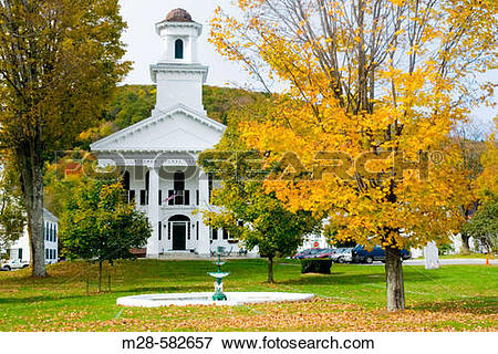 Picture of Historic buildings on the village green Newfane Vermont.