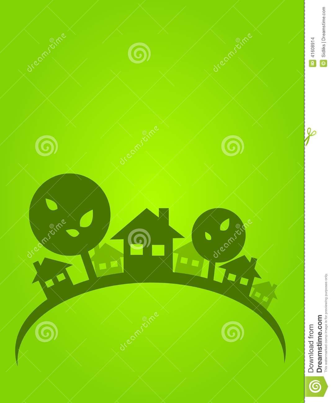 Green Village Stock Illustration.