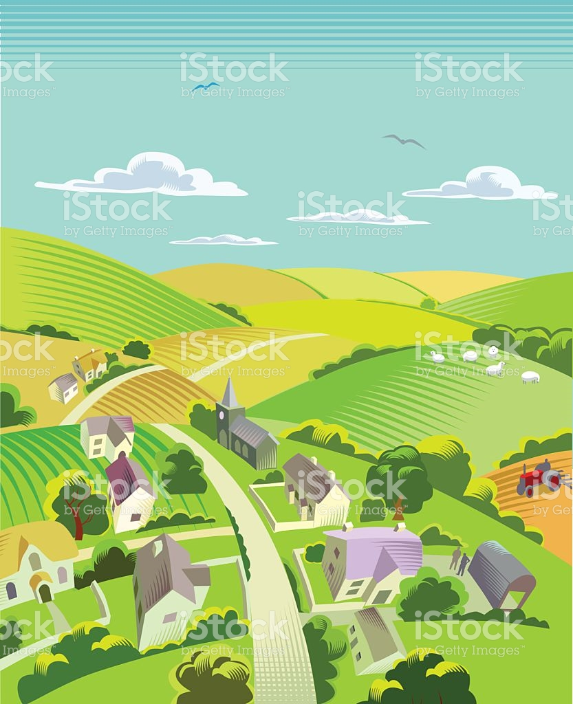 Countryside With Village stock vector art 514618574.