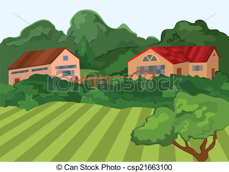 Vector Clipart of Cartoon village houses with green field and.