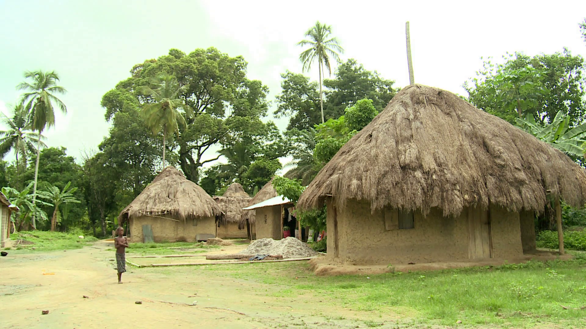 small african village with mud huts Stock Video Footage.