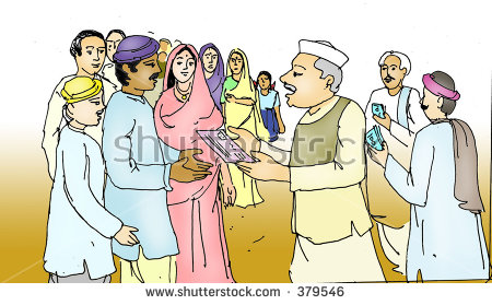 Politician Awarding Help Rural Indian Villagers Stock Illustration.