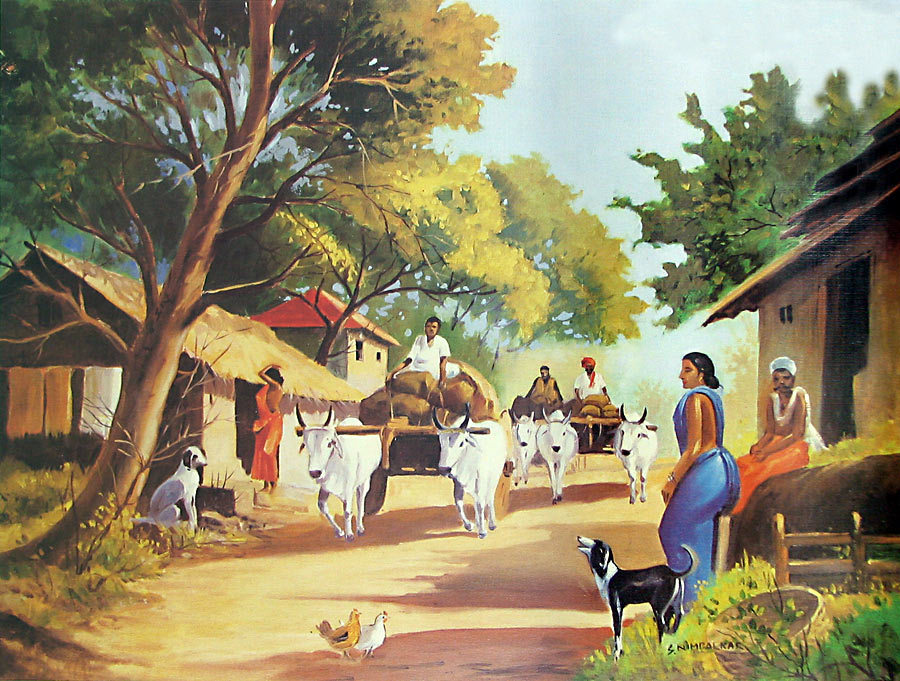 Scene of Indian Village (Reprint on Paper.
