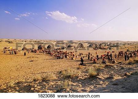 Pictures of Village in the Thar desert, near Jaisalmer, India.