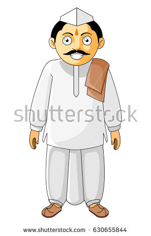 Indian Village Man Clipart.