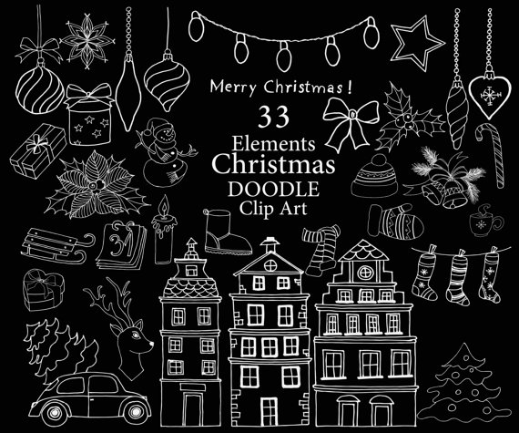 Chalkboard Christmas clipart: \