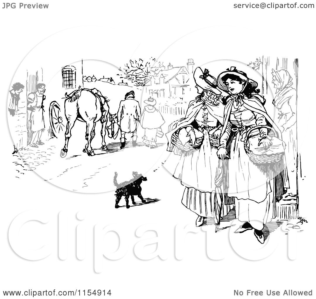 Clipart of Retro Vintage Black and White Women in a Village.
