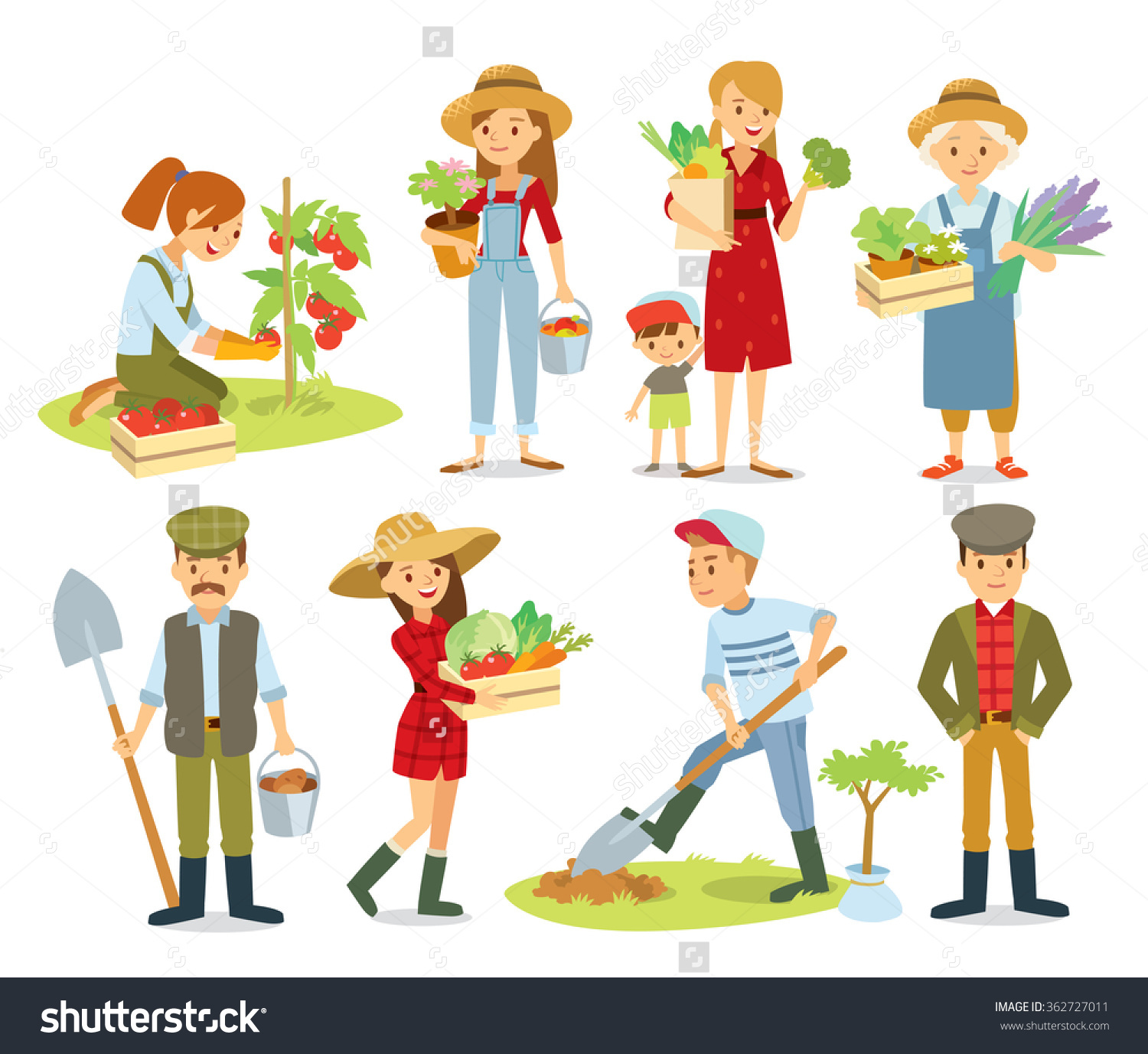 Vector Set Village People Organic Food Stock Vector 362727011.