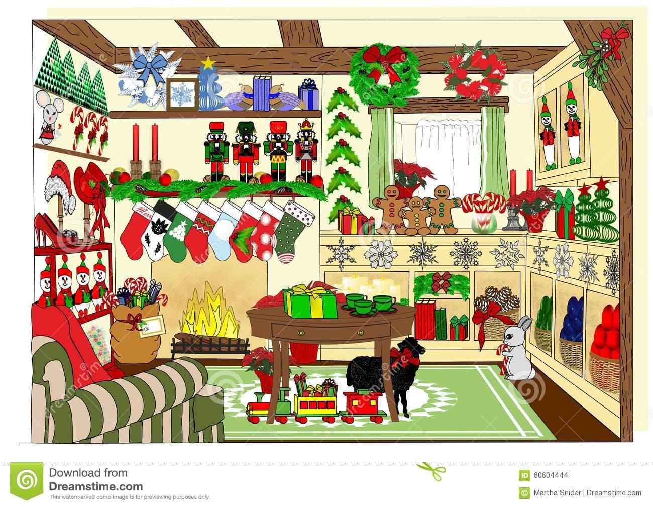 The Village Christmas Shop Stock Illustration.