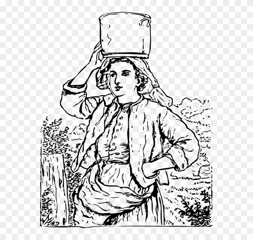 Housewife, Water Bucket, Maid, Village Woman, Lady.