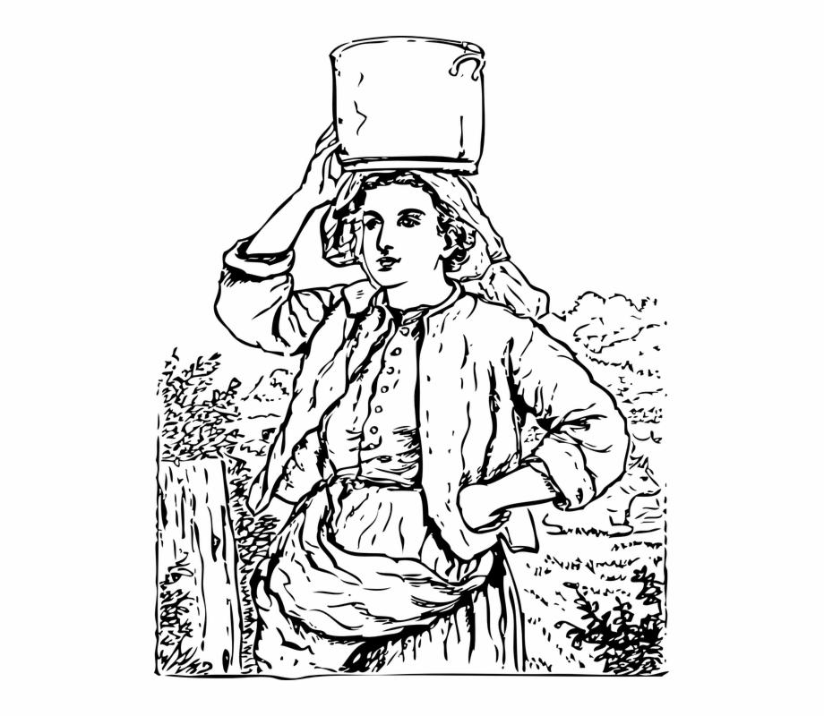 Housewife Water Bucket Maid Village Woman Lady Milkmaid.
