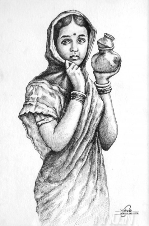Village Girl Drawing at PaintingValley.com.