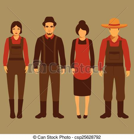 Clipart Vector of vector cartoon farmer character, farm, village.