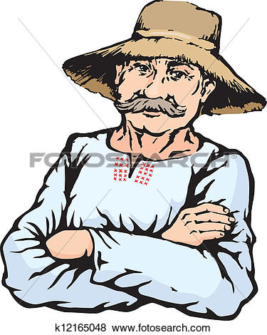 Clip Art of Village farmer man in straw hat k12165048.