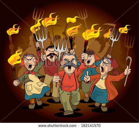Angry Mob Stock Images, Royalty.