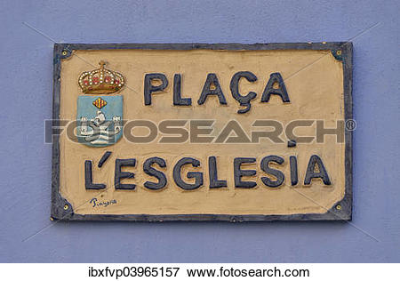 "Picture of ""Street sign in Valencian, Placa l'Esglesia, Church."