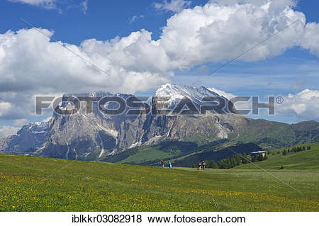 """Pictures of """"Seiser Alm alpine pastures in front of Piatto."""