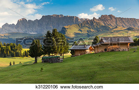 Stock Images of Chalets at Seiser Alm, South Tyrol, Italy.