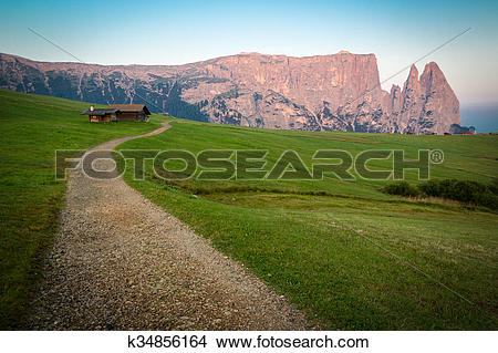 Stock Photo of Hiking trail with Schlern mountain, Seiser Alm.