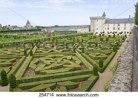 Stock Photo of Formal garden in front of castle, Chateau De.