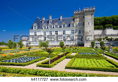 Picture of Villandry Castle with garden, Indre.