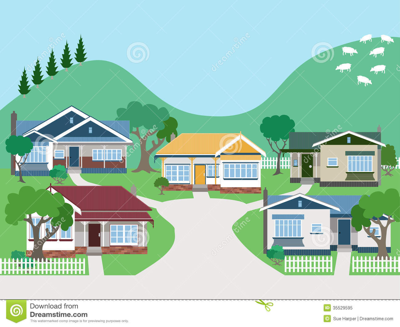 Villas Stock Illustrations.