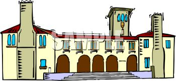 Clip Art Illustration of a Villa Home.