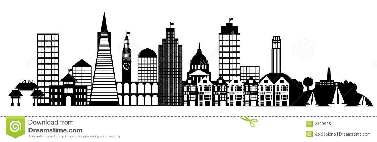 San Francisco City Skyline Panorama Clip Art Stock Image.