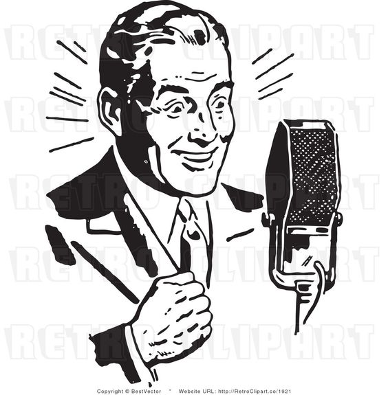 Royalty Free Black and White Retro Vector Clip Art of a Radio Host.