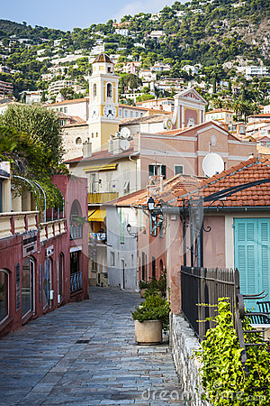 Street Of Villefranche Sur Mer Stock Photo.